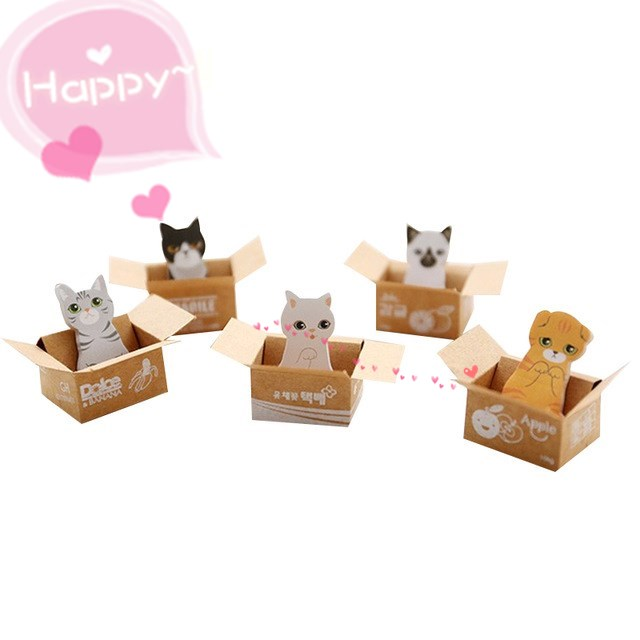 30 Sheets Creative Cute Cardboard Box Cat Easy To Post Cute Kitten Sticky Notes Cartoon Kawaii Gifts School Supply
