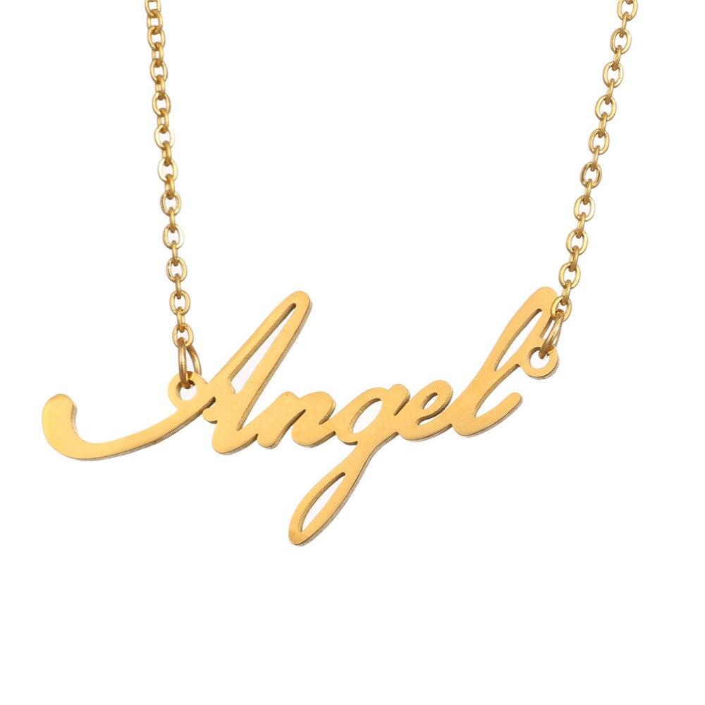 26b6e4d00aeb Nueva llegada guión Angel Angela de acero inoxidable inglés carta collar de  Color oro placa colgante