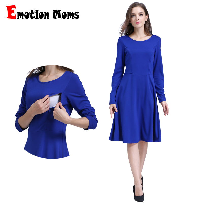 Emotion Moms Solid O-neck Long Sleeve Maternity Clothes Comfortable Nursing Breastfeeding Dresses for Pregnant Women Long dress ol style scoop neck long sleeve color block bodycon midi dress for women