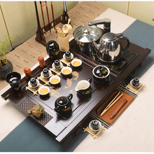 The purple ice tea set special offer four in one set of Kung Fu Tea auspicious clouds Shuncheng wood tray