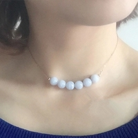 LiiJi Unique Blue Lace Agates 8mm beads 925 Sterling Silver Choker Necklace 40cm/45cm Drop shipping