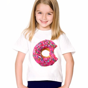 18M-10T Print Funny Donut T shirt For Boys/girls Summer Food T-Shirts for Children Baby Girls Clothing TA201