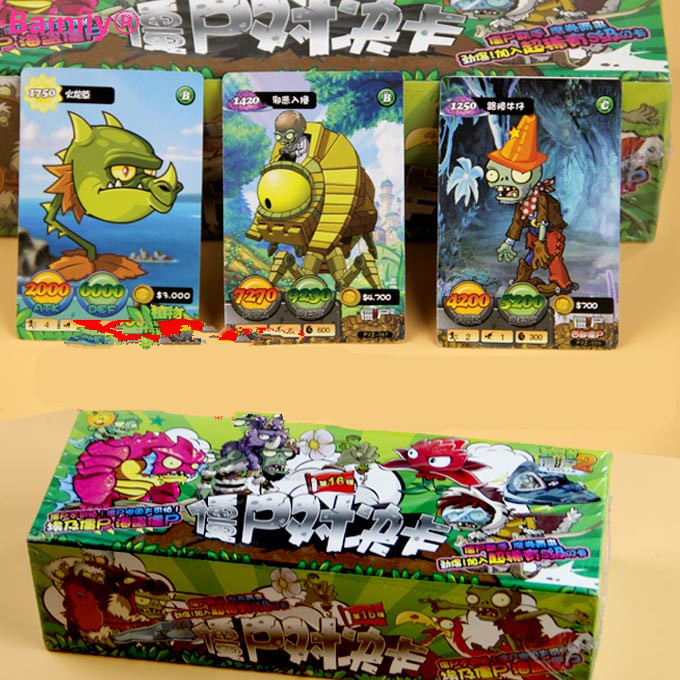 [Bainily]400pcs/lot Plants vs Zombies Cards Plants Zombies Action Figures Collect Game Card Pea Sunflower Trading Card Kid Toys