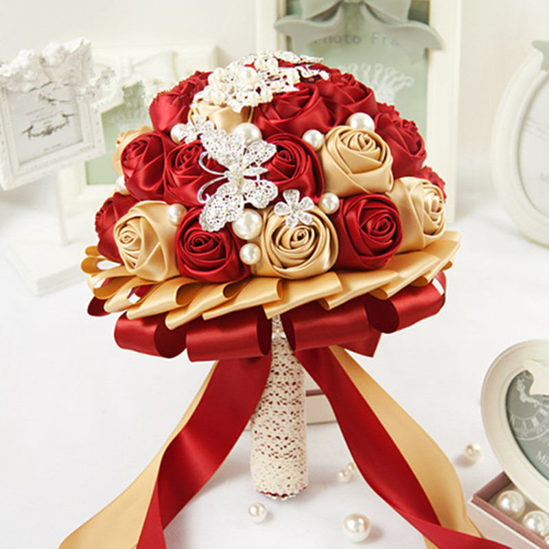 custom high quality gold champagne bridal bouquet wine red
