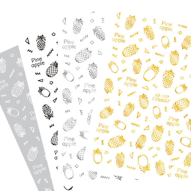 newest cb 107 pineapple black and white 3d nail art sticker fashion english letters template