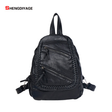 2017 Women Backpacks high Quality sheepskin leather backpack women Shoulder bag Designer brand school bag for teenagers girl