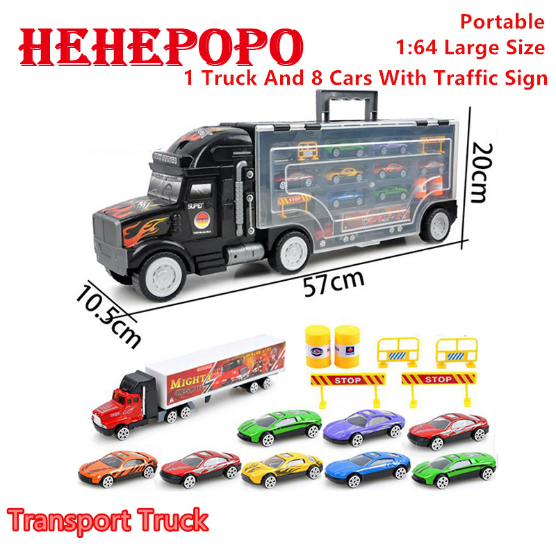 1:64 Advanced Large Container Trucks Portable Pick Up Truck Kids' Toys Alloy Trailer Road Signs Baby Mini Transport Car Gift sara gillingham busy baby trucks