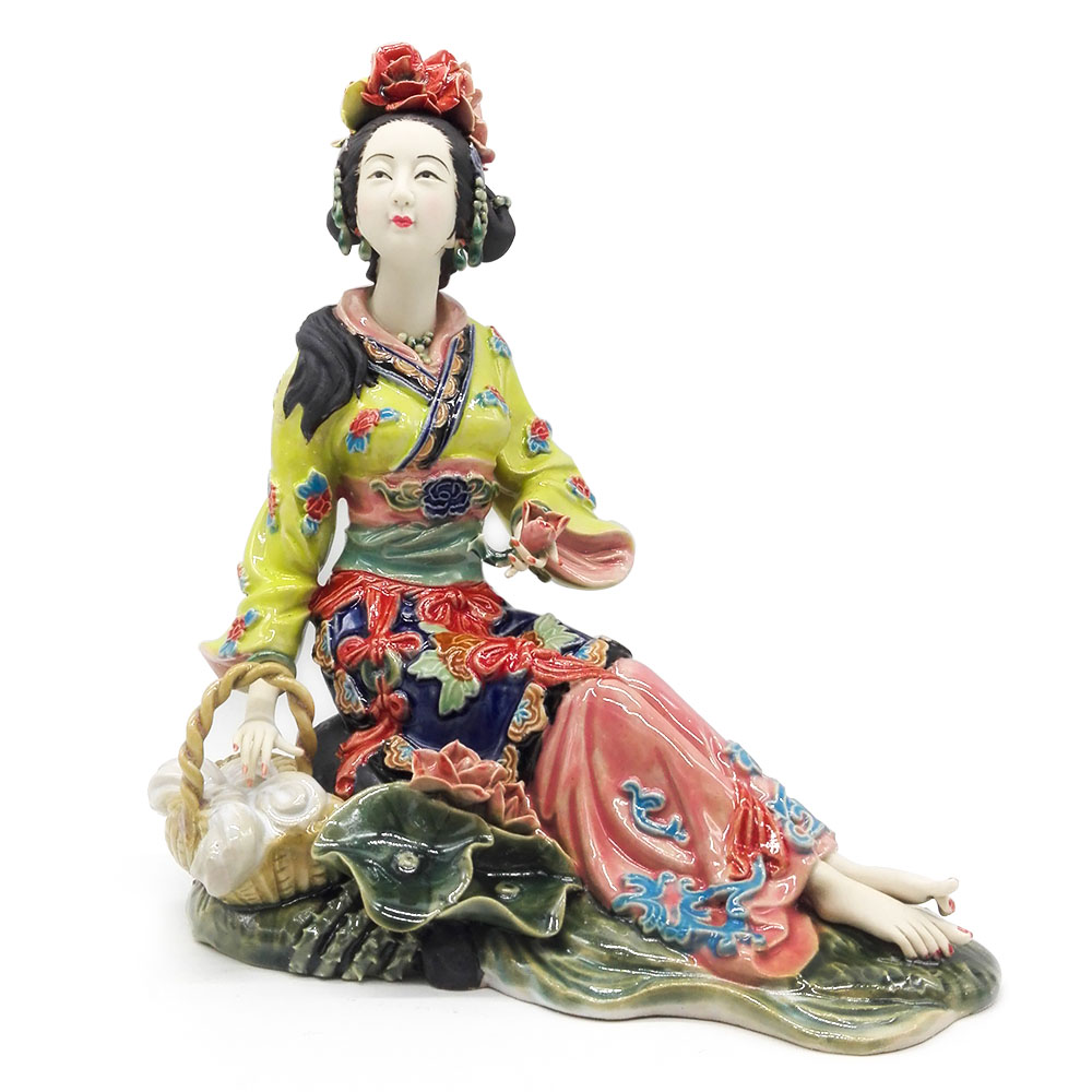 Chinese Beauty Porcelain Lady Statue Collectible Craft Antique Imitation Ceramic Figure Figurine for Decoration figurine