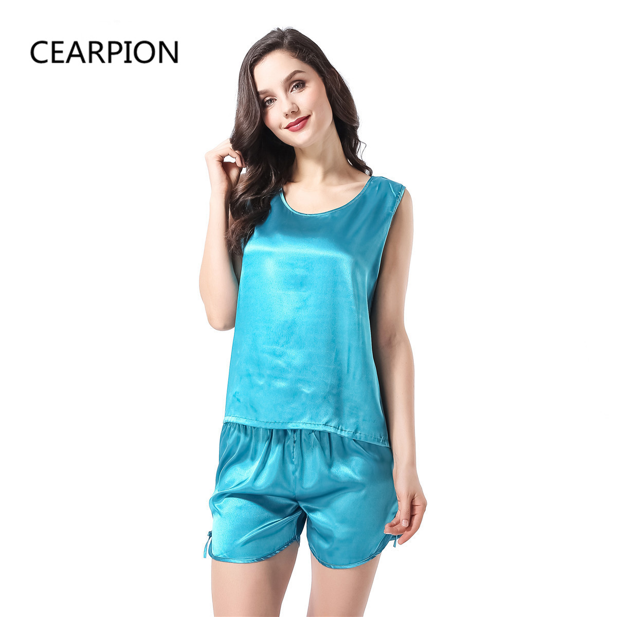 CEARPION Women   Pajamas     Set   Rayon 2PCS Strap Top&Shorts Sleepwear Femme Casual Nightwear Sexy Sleeveless Nightie Nightgown