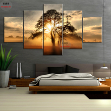 CV 5 panel canvas painting Sunset tree No frame