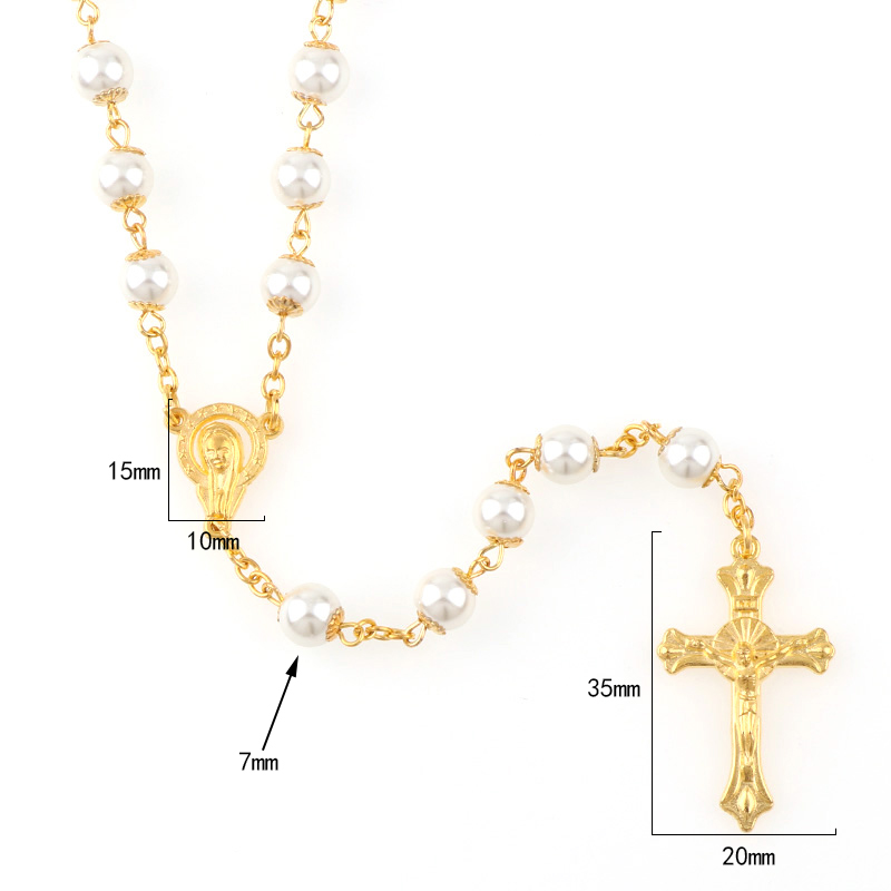 White Pearl Rosary Necklace Baby Communion Baptism