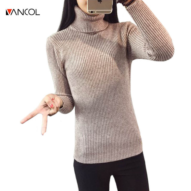 Vancol 2017 winter Women Long Sleeve turtleneck PULLOVER poncho autumn Sweater Top Tunic Jumper Basic blusas de inverno feminina
