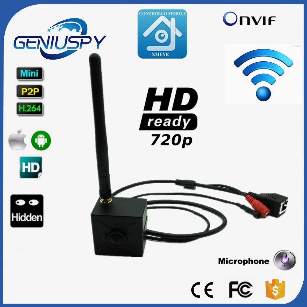 720P 1.0MP H.264 Onvif P2P Mini IP Camera Pinhole HD Wifi IP Camera Wireless P2P Plug Play 3.7mm MP Lens Support Microphone