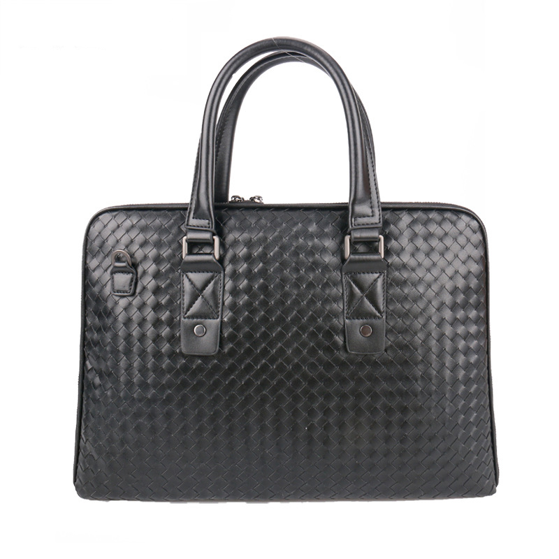 Briefcase Leather Men's Bag Thin Section Business Handbag Leather Woven Bag Cross Section Briefcase