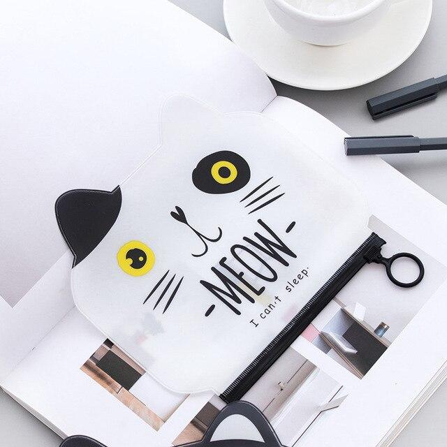Cat Pencil Case Pvc Plastic School Supplies Bts Stationery Gift Cute Pencil Box Pencil Bag Tools Kawaii Cosmetic Bag Storage Bag Pencil Bags