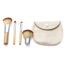 4pcs Professional Makeup Brushes Bamboo Handle Makeup Brush Set Cosmetic Tools Kit Eyeshadow Powder Blush Brushes