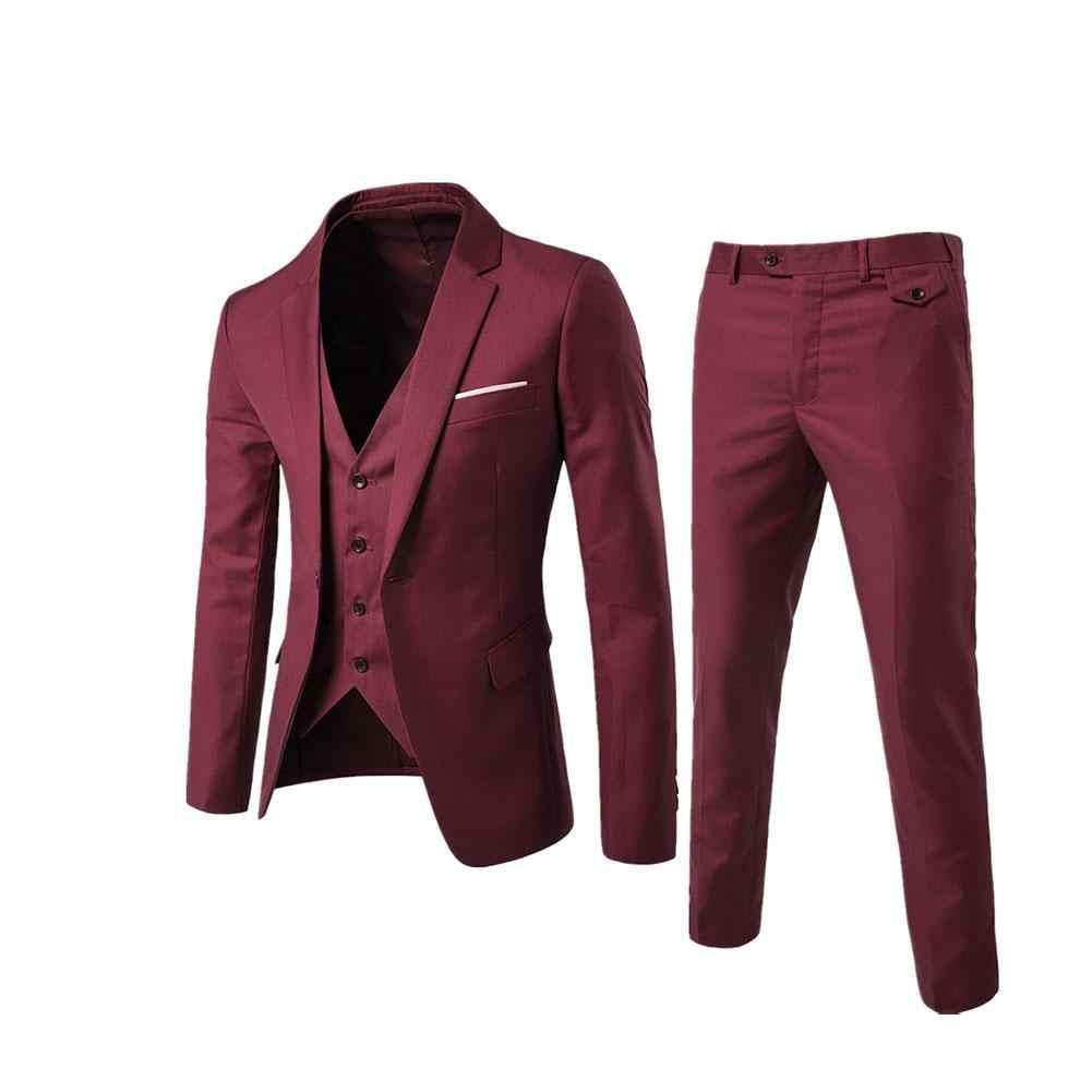 2018 男性のファッションスリムスーツ男性のビジネスカジュアル服介添人スリーピーススーツブレザージャケットパンツズボンベストセット