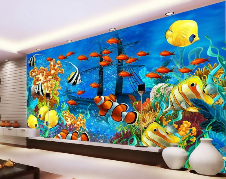 Compare prices on tropical fish wallpaper online shopping for Custom mural cost