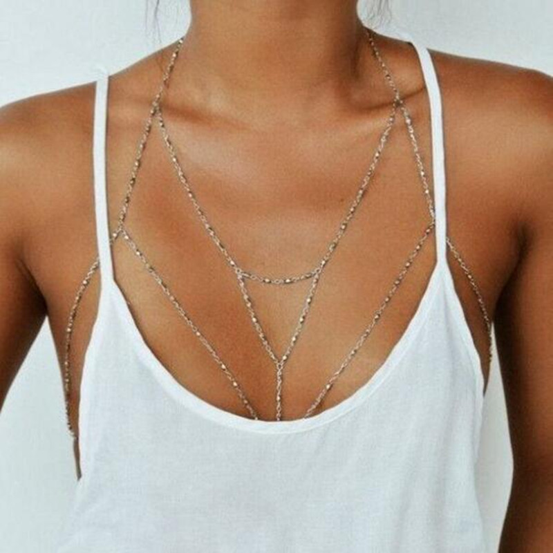 Vintage Boho Summmer Gold Silver color Body Chain Jewelry women Multilayer Sexy Beach Bikini Harness Chain