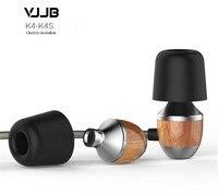 VJJB K4 K4S Wooden Bass In Ear Headphones Ebony Earphone Bass DIY Magic Sound Headset With