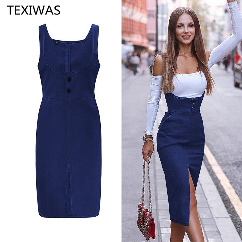 Женское платье без рукавов TEXIWAS, облегающее офисное платье на ремне с карманом на весну, Пляжное Платье для вечеринок|Платья|   | АлиЭкспресс