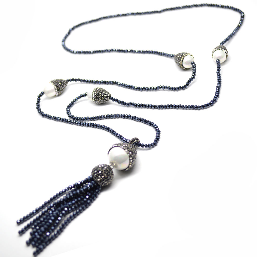 1pc Hematite Color Glass Crystal Seed Beads Tassel Shell Pendant Long Necklace Fashion Woman Jewelry Gift