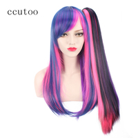 ccutoo 26 Blue Pink Purple Mix Long Straight Synthetic My Little Pony Twilight Sparkle Cosplay Wig Hair With Chip Ponytail