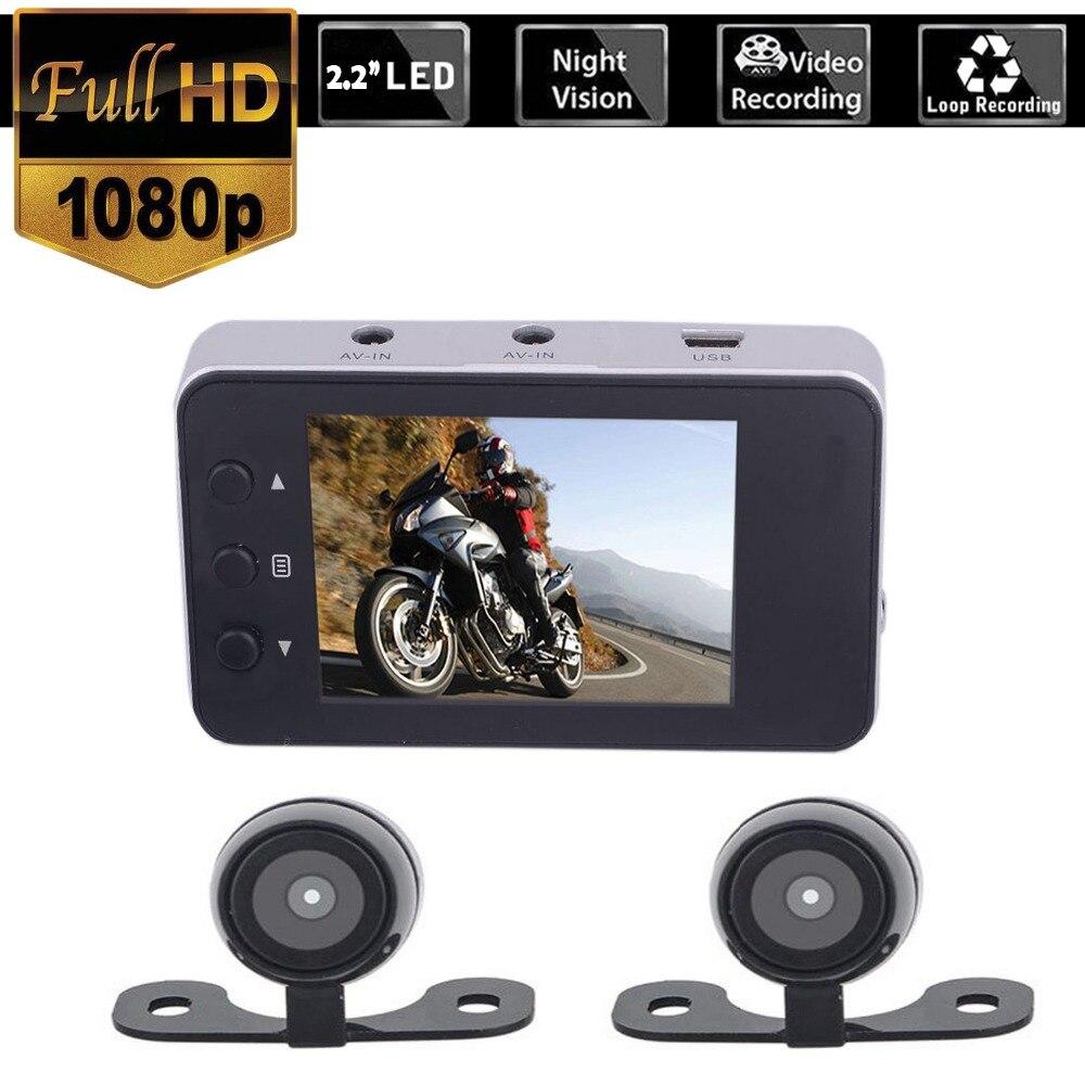 HD 1280x720 Motocicleta Dupla Câmera DVR Gravador Traço Cam Dual-track Dianteiro Traseiro Eletrônica De Moto Moto À Prova D' Água vídeo