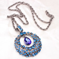 Fashion Female Vintage Sweater Necklace Round Crystal Turquoise Amethyst Circle Pendant Long Sweater Necklace Jewelry For Women