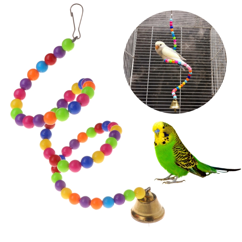 Parrot Toys Spiral Swing Stand Holder Birds Creative Bell Colorful Beads Ladder Hook Can Be Hang On The Top Of Cages