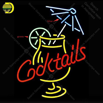 Cocktail And Martini Umbrella Cup Neon Sign Glass Tube Handmade neon light Sign Decorate Wall Bedroom Iconic Sign Neon Light