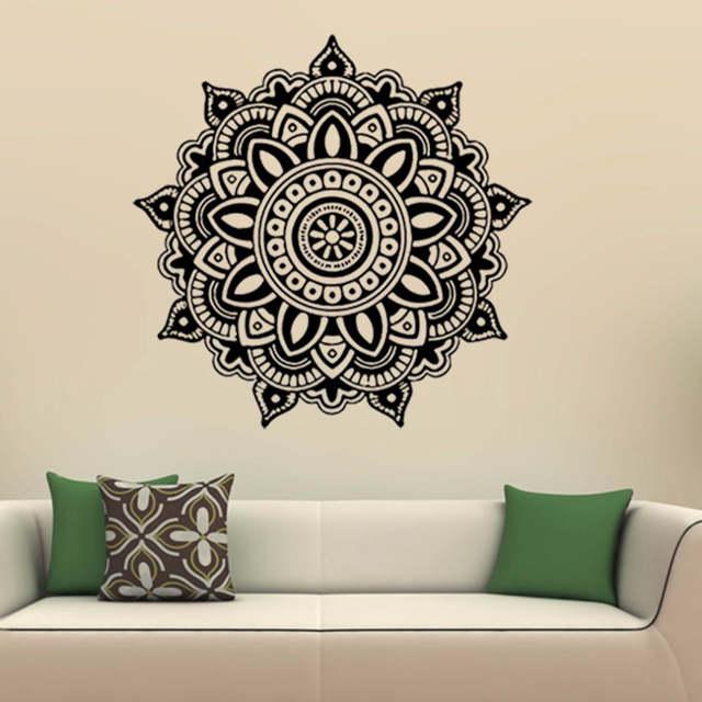 US $4.23 27% OFF|Schwarz PVC Wandaufkleber Mandala Blumen Indischen  Schlafzimmer Wandtattoo Wandhaupt Vinyl Familie wandaufkleber-in  Wandaufkleber aus ...