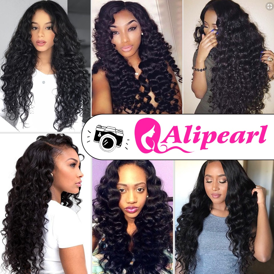 Alipearl Hair 4 Bundles With Closure Brazilian Water Wave Bundles With Lace Closure Baby Hair 5 Pcs Lots Remy Hair Extensions Be Friendly In Use 3/4 Bundles With Closure