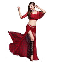 Women Sexy Belly Dance Costume Lace Bollywood Bellydance Tops Long Skirt Exotic Dancewear Oriental Clothing Fairy Dress DC1776