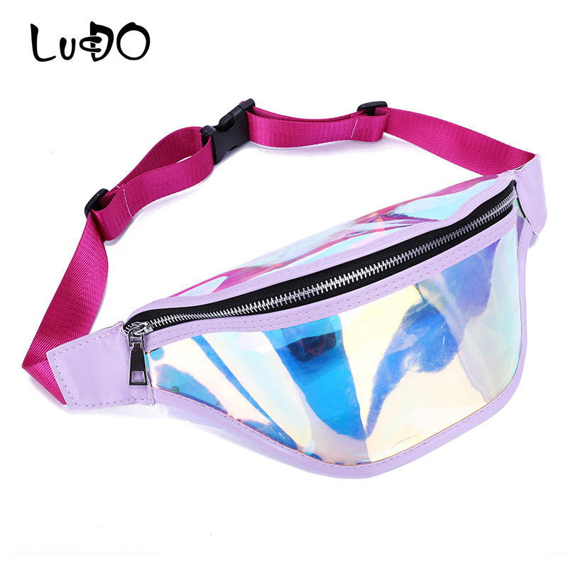 LUCDO Fanny Hologram Transparent Waist Bag Strap Ladies For To Belt Women Phone Purses Belly Bum Bag Hip Handy Men Shoulder Bag holographic belt purse