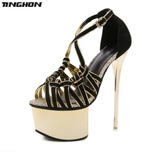 TINGHON Women Sandals Gladiator Party Ankle Strap Sequined Cloth Concise Ultra Very High heel Pumps 16CM Fetish shoes
