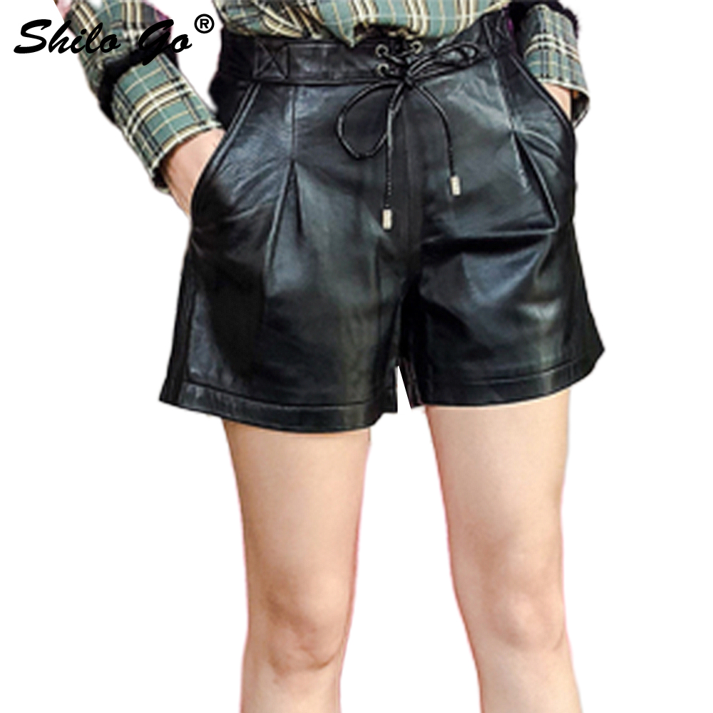 Leather Shorts Womens Spring Fashion Sheepskin Genuine Leather Skirts High Waist Adjustable Tie Back Zipper Wide Leg Shorts