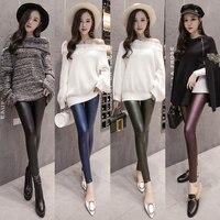 Sexy 2018 Fashion Spring Autumn New Leggings Women Black High Waist Solid Elastic Faux Leather Leggings