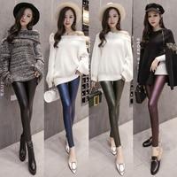 Sexy 2018 Fashion Spring Autumn New Leggings Women Black High Waist Solid Elastic Faux Leather Leggings Long Pants Slim Green