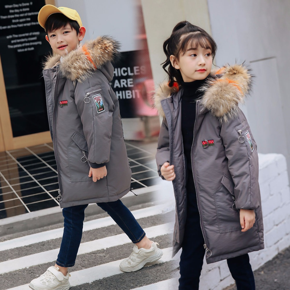 XYF9967 Girl Winter White Duck Down Coat Child Big Fur Collar Keep Warm Thick Hooded kids Jacket Long Outerwear Boys Windbreaker sweet plus size scoop neck flounce sleeves chiffon blouse for women