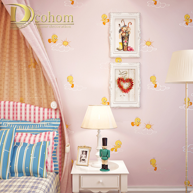 Kids Bedroom Background aliexpress : buy cozy pink yellow children wallpaper kids room