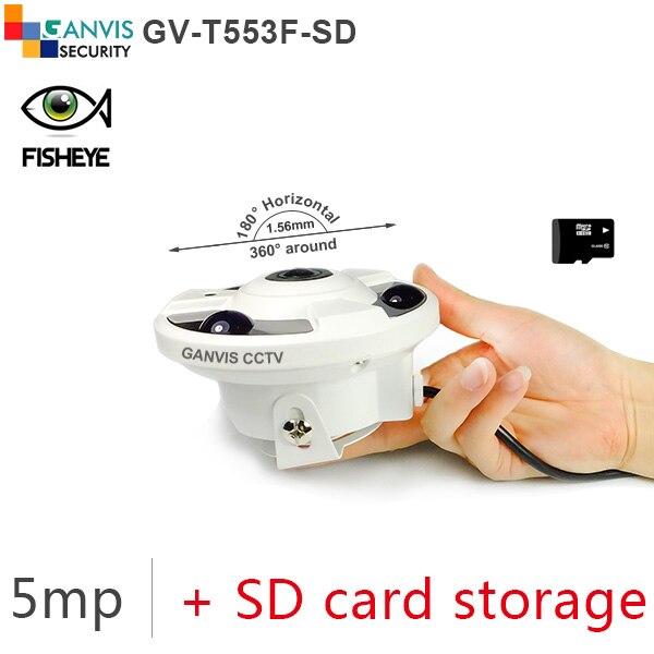 ФОТО SD card storage Fisheye panoramic view 5mp ip camera fhd 1080p digital video cctv cameras security onvif GANVIS GV-T553F-SD b