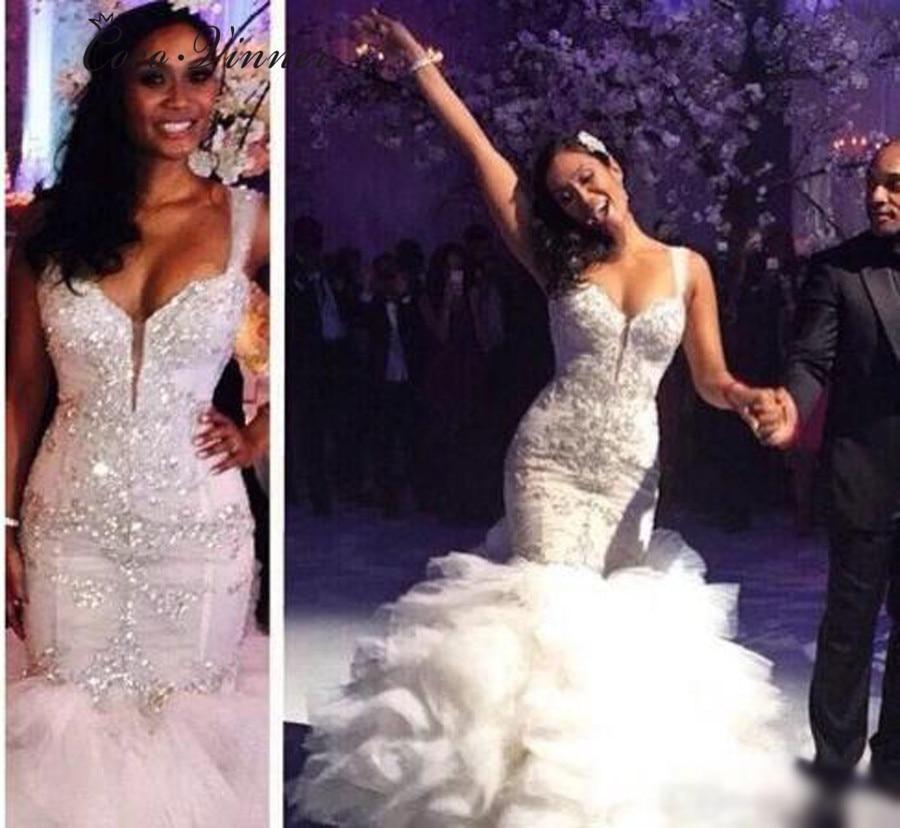 Rushed Pleat Tassel Mermaid Wedding Dresses 2020 Sexy V Neck Design Luxury Crystal Beads African Wedding Dress Bridal Gown W0306