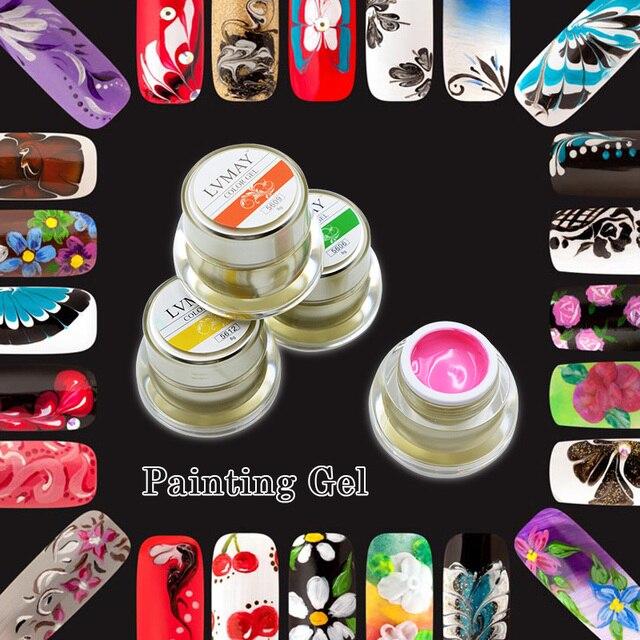 6 Pcs Lvmay Painting Gel Nail Polish Uv Led Lamp Nail Art Gel Nails ...