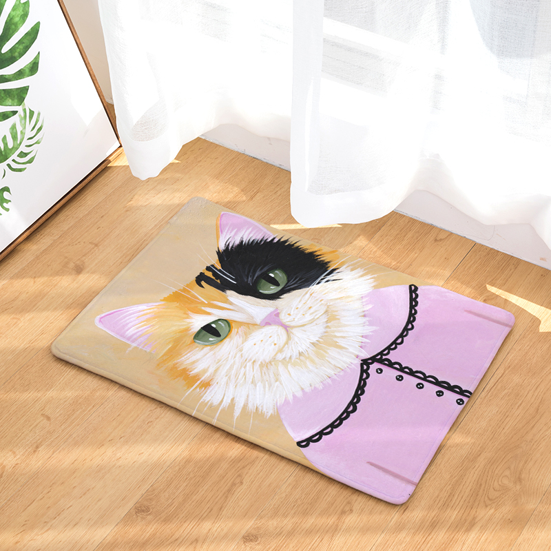 High Quality New Whole Body Colorful Personality Painting Cat Print Carpets Bathroon Mats Anti-Slip Rugs
