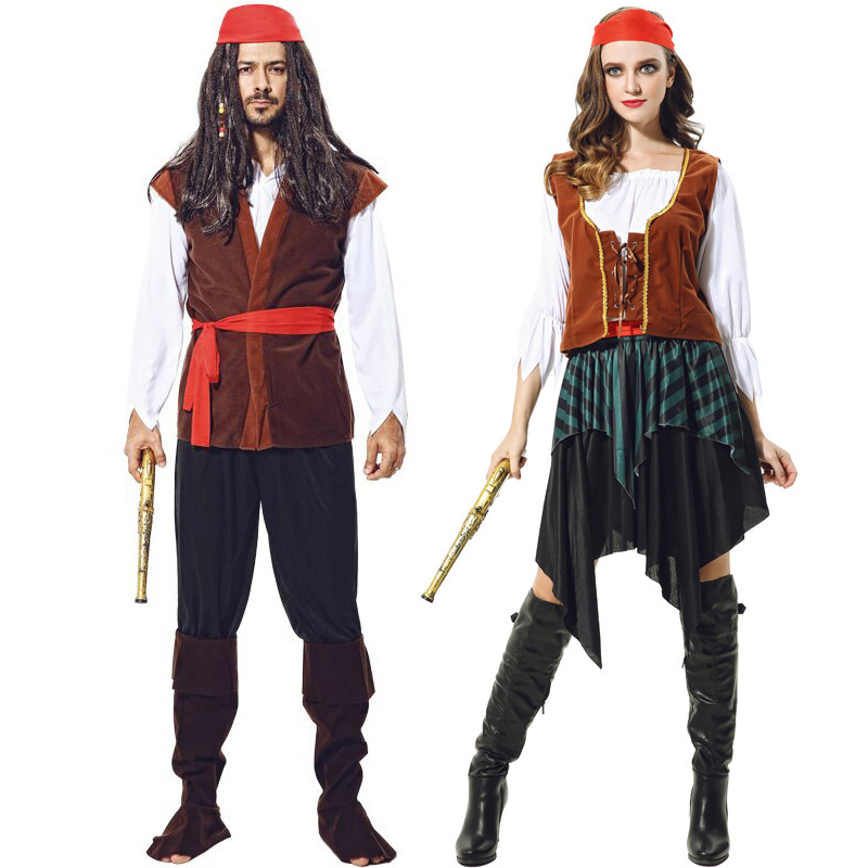 Jack Sparrow Pirate Costume Adult Fancy Dress Carnival Captain Pirates Caribbean Halloween Cosplay Costume For Women or Men