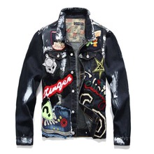 Newsosoo Mcikkny Men Denim Jacket Punk Style Skull Painted Jeans Jacket