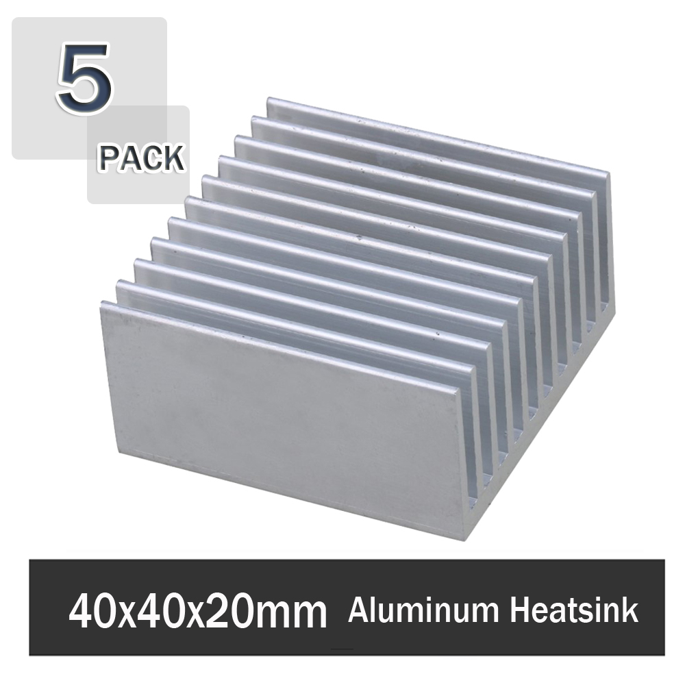 5 Pieces Gdstime 40x40x20mm Aluminum HeatSink Heat Sink Radiator For Electronic Chip LED RAM Cooler Cooling