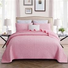 Luxury Pink Gray White Beige European 100% Cotton Bedspread Bed Sheet Linen Cover Summer Quilt Blanket Pillowcases 3pcs