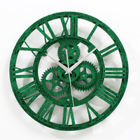 Green Gear Industrial Wall Clock Vintage Retro Large Art Design Roman Stereoscoptic Wall Clocks For Living